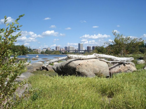 Hiking in the James River - Downtown Richmond skyline