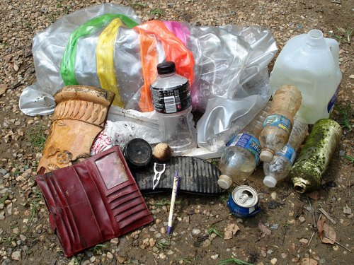 Trash recovered from the James River in Richmond