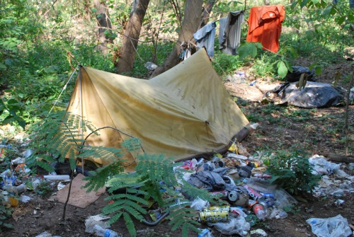 Homeless camp near Missing Link Trail at Manchester Climbing Wall
