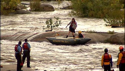 River rescue on the southside rocks at Belle Isle. Photo by Dwight Nixon, NBC12