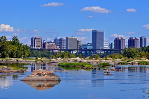 Photo by Rich Young: Richmond skyline from area down river from Reedy Creek takeout