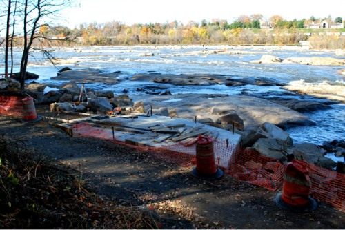 Construction project blocking trail at Belle Isle