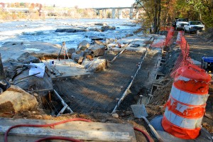 Wheelchair accessible ramp being constructed on Belle Isle