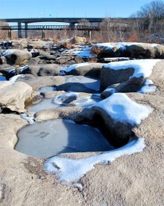 Icy potholes at southside rocks at Belle Isle