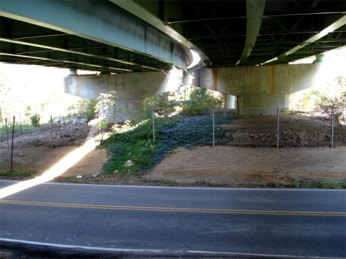Under the Edward E. Willey Bridge on the south bank at Cherokee Road
