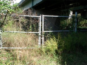Gates to enter the Willey Bridge property off Cherokee Road