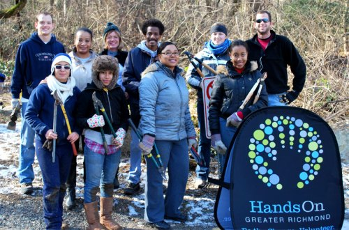 HandsOn Greater Richmond volunteers removed invasive plants at Pony Pasture