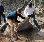 Will McQuate of the JRPS works with volunteers on building the connector trail