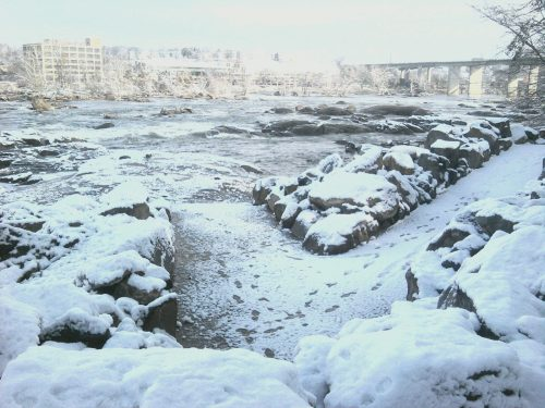 Belle Isle ramp covered in snow