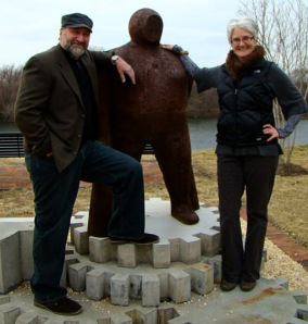 Friend's Board member and VCU assistant professor of biology Anne Wright takes a moment with sculptor Charlie Ponticello and his work the Deepwater Sponger last evening at The Boathouse. - Photo from FOJRP facebook page