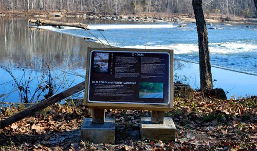 New interpretive sign at the Z-Dam at Williams Island on scenic Riverside Drive about 1/2 mile west of Pony Pasture