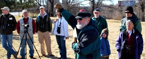 James River Park manager Ralph White led a tour of the great blue heron rookery with the Richmond Audubon Society at the Pipeline Rapids walkway